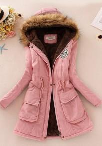 Pink Patchwork Drawstring Faux Fur Pocket Parka Hooded Long Sleeve Coat