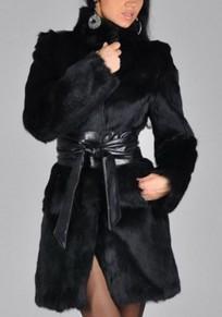 Schwarzer Gürtel Langarm Fake Kunstpelz Mantel Jacke mit Fell Winter Warmer Damen