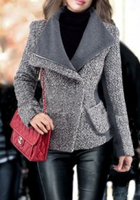 Grey Patchwork Pockets Zipper Tailored Collar Wool Coat