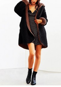 Black Fur Fuzzy Pockets Hooded Reversible Style Long Sleeve Lamb Wool Cardigan Wool Coat