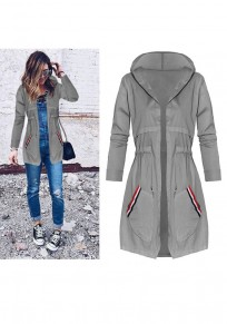 Grey Plain Drawstring Pockets Hooded Casual Coat