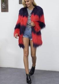 Blue-Red Color Block Print V-neck Fashion Coat