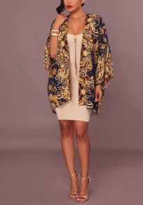 Golden Floral Print Long Sleeve Fashion Cardigan Coat