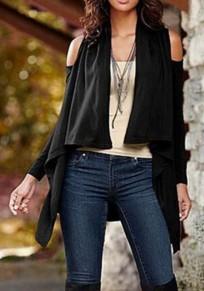 Schwarz Cut Out Schulterfrei Langarm Ausgestellter Outwear Cardigan Mantel Damen Mode