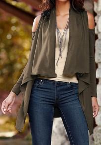 Khaki Cut Out Schulterfrei Langarm Ausgestellter Outwear Cardigan Mantel Damen Mode