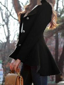 Abrigo cuello redondo irregulares pecho cola de golondrina de moda negro