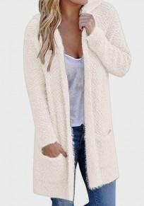 Abrigo bolsillos con capucha escote hundido manga larga chaqueta de punto beige