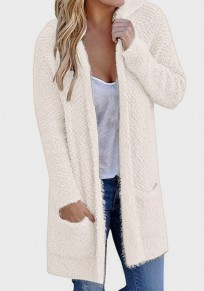 Beige Pockets Hooded Plunging Neckline Long Sleeve Cardigan Coat