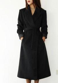 Manteau ceintures à poches col tailleur v-col manches longues laine noir
