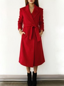 Red Pockets Sashes Tailored Collar V-neck Long Sleeve Wool Coat