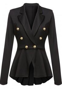 Manteau officier double boutonnage peplum manches longues mode femme blazer noir