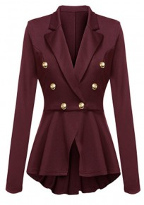 Burgundy Irregular Pleated Double Breasted Turndown Collar Long Sleeve Office Blazer