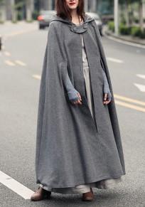 Manteau longues en laine à capuche asymétrique femme hiver cape gris