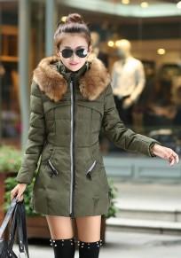 Armeegrün Flickwerk Taschen Reißverschluss mit Kapuze Langarm Beiläufig Mantel