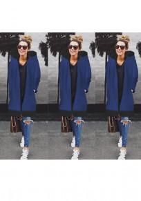 Manteau mi-longue à capuche poches fermeture éclair manches longues femme décontracté hiver bleu