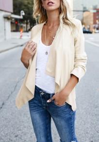 Abrigo irregulares cuello de manga manga larga casuales blanco