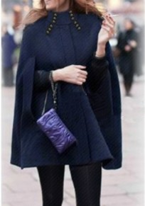 Navy Blue Draped Pockets Band Collar Cape Sleeveless Coat