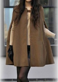 Camel Draped Pockets Band Collar Cape Sleeveless Coat
