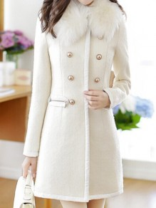White Pockets Faux Fur Turndown Collar Double Breasted Long Sleeve Winter Wool Parka Coat Peacoat
