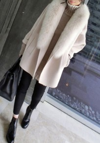 Beige Patchwork Pockets Fur Collar Long Sleeve Fashion Coat