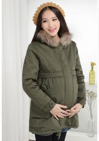 Army Green Drawstring Pocket Zipper Faux Fur Hooded Casual Maternity Parka Coat