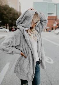 Grey Plain Pockets Hooded Long Sleeve Casual Coat