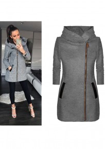 Grey Patchwork Pockets Zipper Hooded Long Sleeve Fashion Coat