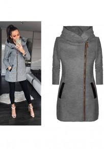 Grey Patchwork Pockets Zipper Hooded Long Sleeve Fashion Coat