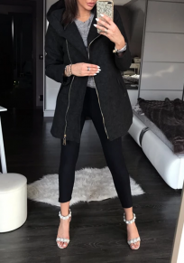Black Patchwork Pockets Zipper Hooded Long Sleeve Fashion Coat