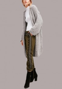 Graue Taschen gemütlich Kapuzen Langarm Strickjacke Wollmantel