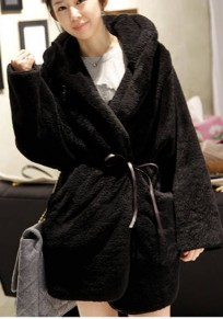 Black Plain Sashes Pockets No Button Fashion Coat