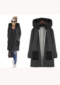 Manteau uni poches fermeture éclair manches longues décontracté noir