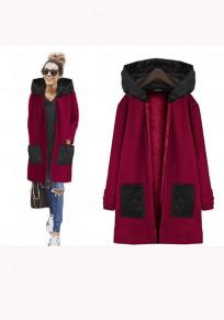 Red Plain Pockets Zipper Long Sleeve Casual Coat