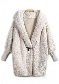 Weiß Taschen Mit Kapuze Langarm Warme Winter Dicke Jacken Teddyjacke Mantel Damen Mode