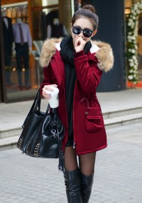 Wine Red Drawstring Pockets Zipper Faux Fur Hooded Fashion Winter Padded Coats