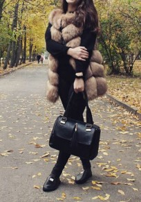 Camel Draped Faux Fur Thick Sleeveless Fashion Coat