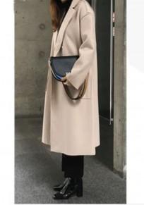 Beige Pockets Belt Turndown Collar Long Sleeve Wool Coat