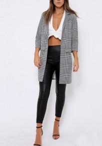 Black-White Plaid Pockets Turndown Collar No Button Fashion Coat