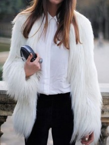 White Long Sleeve Fashion Faux Fur Cardigan Coat