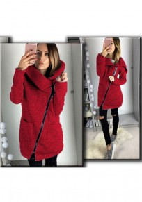 Rot Ebene Reißverschluss Taschen Umlegekragen Beiläufig Mantel