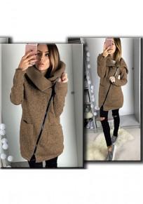 Kaffee Ebene Reißverschluss Taschen Umlegekragen Beiläufig Mantel