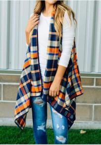 Dunkelblaue Plaid Drucken unregelmäßige ärmellose übergroße Mode Weste Mantel