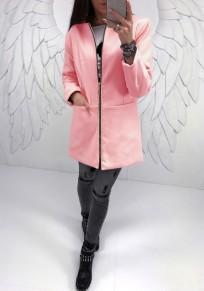 Pink Pockets Round Neck Long Sleeve Zipper Sweet Coat