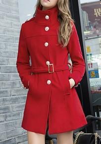 Manteau poches poitrine ceinture manches longues laine rouge