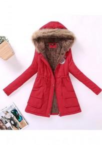 Manteau matelassé poches à col en fourrure cordon de serrage fermeture éclair manches longues à capuche rouge