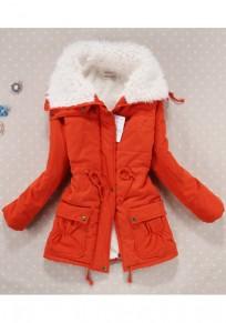 Orange Umlegekragen Tunnelzug Taschen Reißverschluss Lässige Teddyfutter Winter Warme Parker Mantel Damen