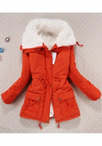 Orange Turndown Collar Pockets Drawstring Zipper Casual Winter Warm Padded Coats