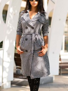 Black-White Plaid Double Breasted Turndown Collar Long Sleeve Claasic Elegant Check Midi Dress