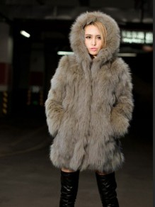 Khaki Pockets Hooded Long Sleeve Fashion Winter Faux Fur Coat
