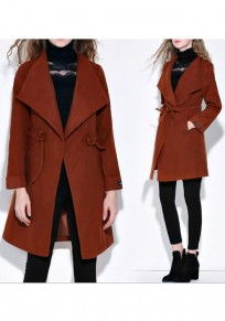 Caramel Drawstring Pockets Turndown Collar Long Sleeve Coat